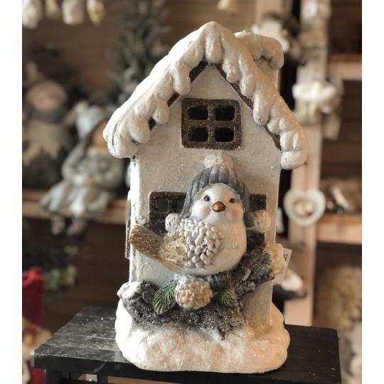 Domček zimný s vtáčikom, dekorácia, lampášik, 40cm