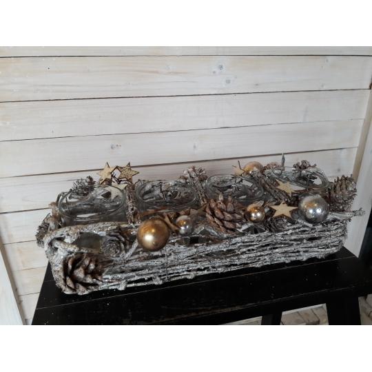 SVIETNIK vianočný prútený na 4 sviečky