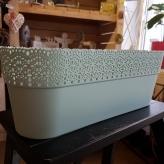 KVETINÁČ tyrkysový, plastový, 38x13 cm
