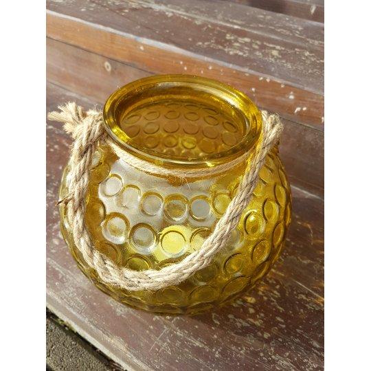 SVIETNIK sklenený, guľovitý žltý