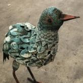 Vták plechový, záhradná dekorácia