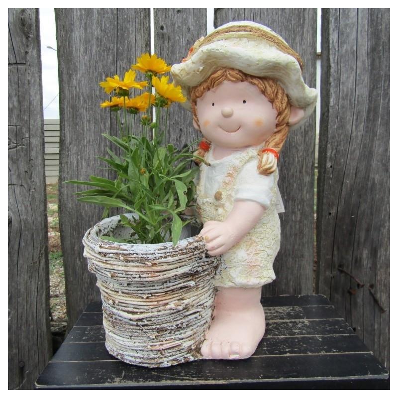 Dievčatko, držiak na kvetináč