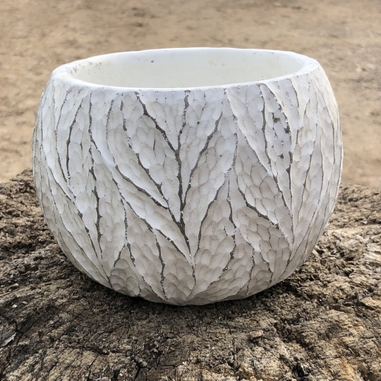 Kvetináč keramický štruktúra, biely, Ø 10,5 cm