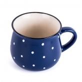 Keramický hrnček bodkovaný, modrý, 770ml