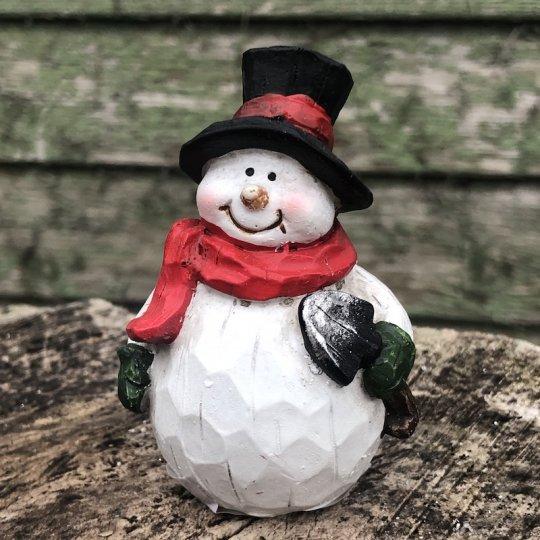 Drevený snehuliak s čiernym klobúkom, 8cm