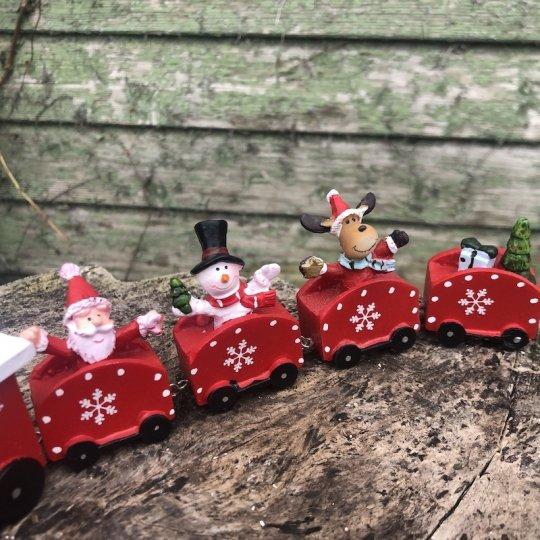 Vianočný vláčik červený, polyresin, 23x5,5cm