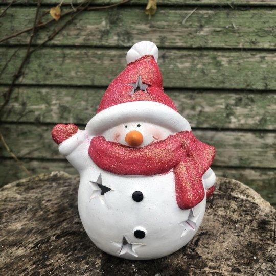 Snehuliak, svietnik na čajovú sviečku, 14cm