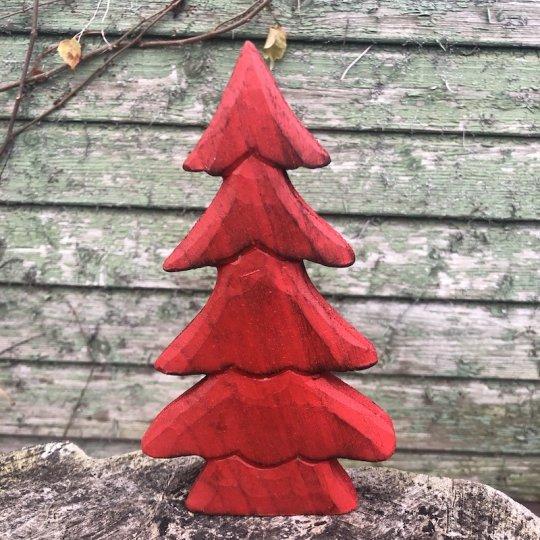 Vianočný stromček červený, drevo, 18,5cm