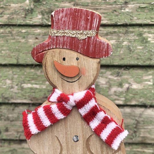 Drevený snehuliak s červeným klobúkom, 20cm