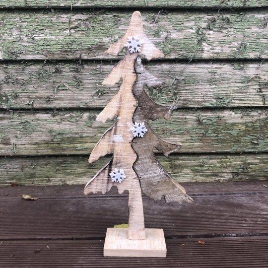 Drevený vianočný stromček dvojfarebný, 33cm