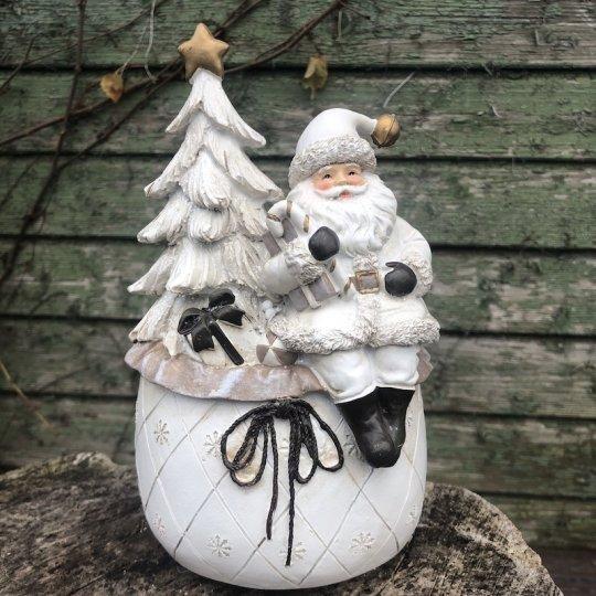 Santa sediaci na snehovej guli - hracia skrinka, 21,5cm