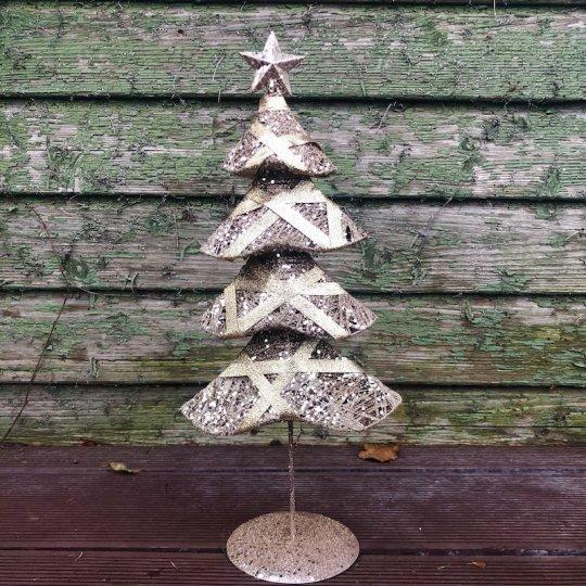 Trblietavý vianočný stromček - kov, 40cm