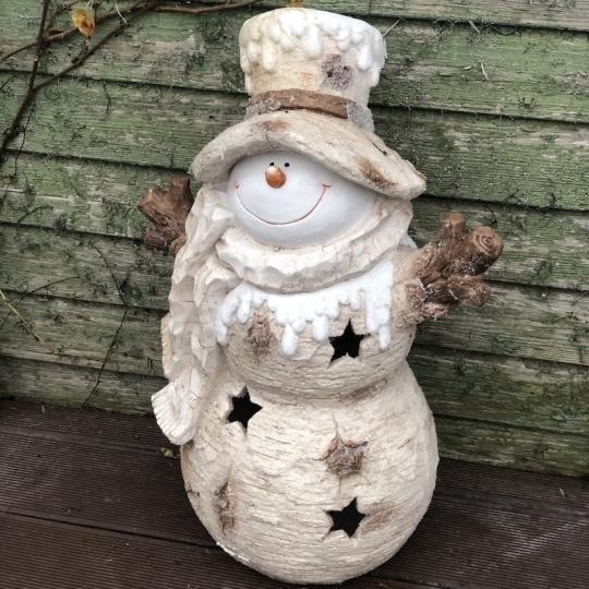 Veľký snehuliak v zasneženom klobúku, LED svetlo, 67cm