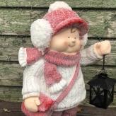 Chlapček s lampášom vo svetríku a červenou čapicou, 43,5cm