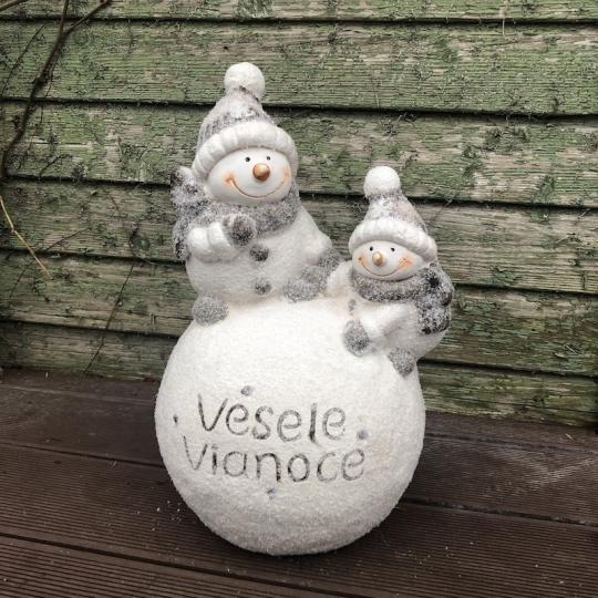 Snehuliak na guli 'Veselé Vianoce', LED svetielko, 42,5cm