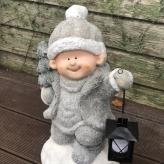 Chlapček s lampášikom v sivom kabátiku, LED svetielko, 41cm