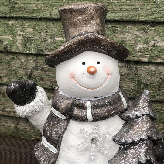 Mávajúci snehuliak so stromčekom, LED svetlo, 46cm