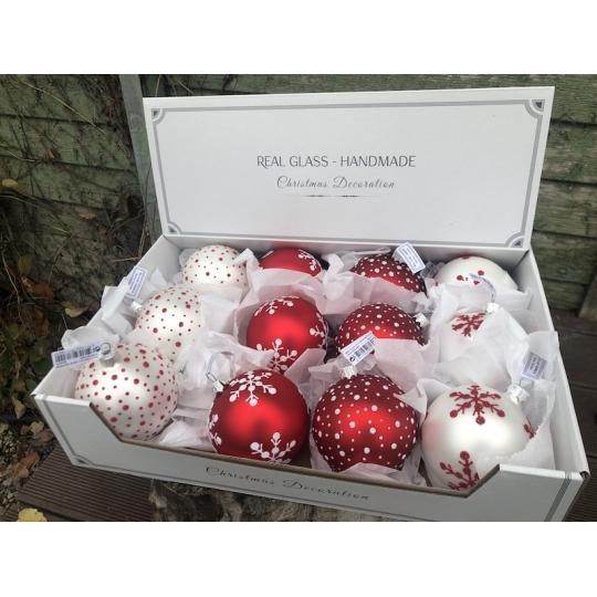 Sada ručne robených vianočných gúľ, sklenené, 12ks