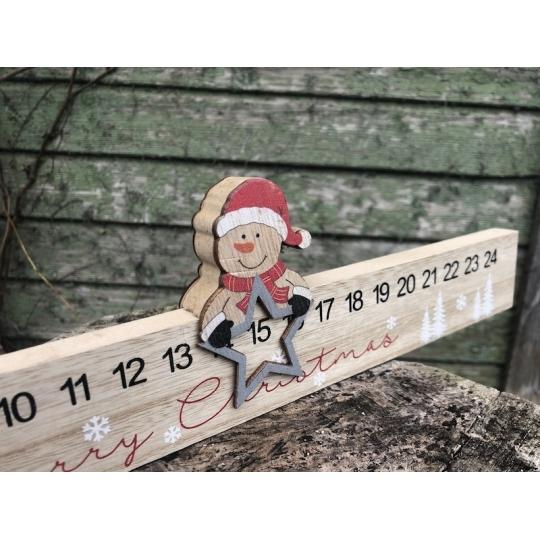 Vianočný kalendár so Santom, drevo, 40cm