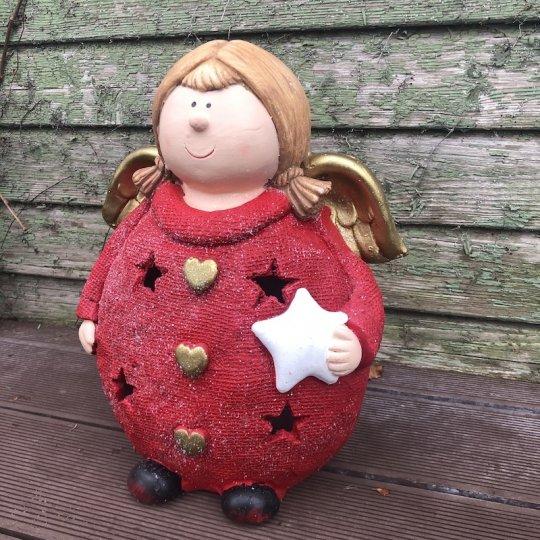 Bacuľatý anjel - dievča v červenom svetri, LED svetlo, 37cm