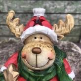 Vianočný sob červený, LED svetlo, polyresin, 15,5cm