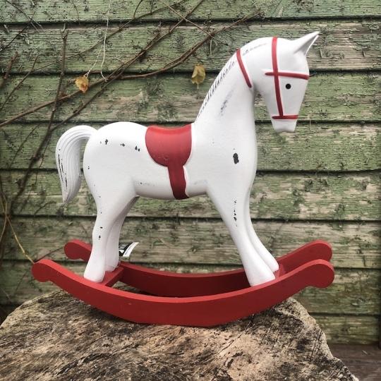 Hojdací koník červenobiely - drevo, 11,5cm